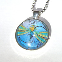 Dragonfly Glass Pendant Necklace Women Fashion Jewelry