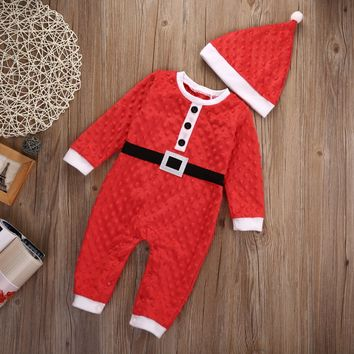 Newborn Girl Boy Christmas Santa Costume Romper Hat 2Pcs Outfit Set Baby Clothes