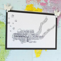 Diver Personalised Sports Word Art Print. FREE UK P&P. Sports gift, Birthday, Special Occasion.