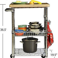 Chrome Wood Top Kitchen Cart Cutting Board Storage Shelves Rolling