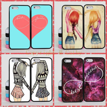 Unlimited Infinity Two Girls Best Friends Case For Apple iPhone 5S 5 SE 4 4S 5C 6 6S 7 Plus Red Heart BFF Case Cover