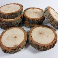 "wood slice coaster, Rustic 5"" diameter Hickory coasters, perfect for mason jars, cut at 3/4"" thick, cut to order and sealed"