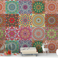 Mandala tile tile sticker set 12 PCs tile sticker tiles foil wall art kitchen bathroom vinyl sticker decor set up