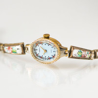 Gold plated women watch Seagull, ceramic jewelry inclusion flowers, women watch bracelet, blue oval face watch, watch native Russian pattern