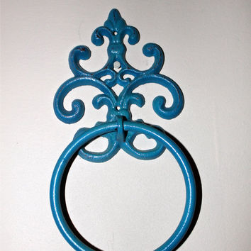 Turquoise Iron Hand Towel Ring by AquaXpressions on Etsy