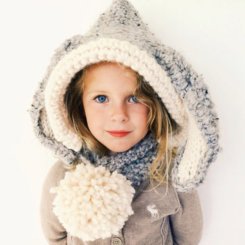 Bunny Hat Hood Cowl Scarf Knit Toddler Child Adult // Briley the Bunny Hood