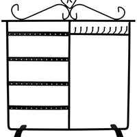 Combo Earring Holder ~Necklace Organizer Stand ~ Jewelry Stand Display Rack Towers (Black)