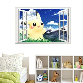 Cartoon Pikachu Pokemon Go Wall Stickers For Kids Rooms Decals Poster Decoration 3D Effect Window Nursery Children Room Decals