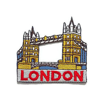London Bridge England Country New Sew / Iron On Patch Embroidered Applique Size 6.5cm.x6.2cm.
