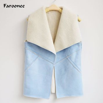 Faroonee 2017 Autumn Spring Women Suede Leather Faux Fur Vest Lady Fall Sleeveless Open Front Fake Fleece Wasitcoat Jacket Q4955