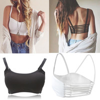 Newest Celebrity Sexy Women Bralette Cage Caged Back Cut Out Padded Bra Bralet Cotton Sports Bra Vest Crop Tops Blusa
