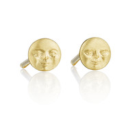Moonface Stud Earrings (4 mm)