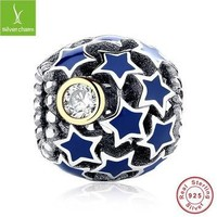 Real 925 Sterling Silver Night Sky Blue Star Charm Fit Original Pandora Bracelet Neckl