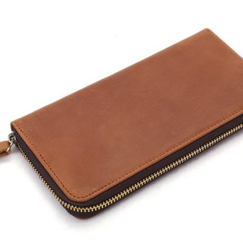 BLUESEBE MEN HANDMADE GENUINE LEATHER LONG WALLET WITH ZIPPER B-200TB