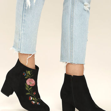 Amanda Black Suede Embroidered Ankle Booties
