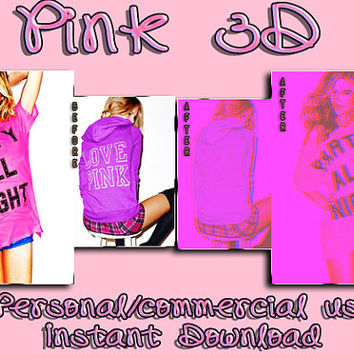 "Photoshop PSD Coloring File Instant Download Photo Effects Actions ""PINK 3D"" Pink 3D Cute Glow Neon"