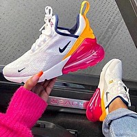 Nike Air Max 270 Fashionable Women Casual Sport Running Shoes Sneakers White&Yellow&Pink