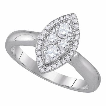 14k White Gold Round Diamond Marquise-shape Cluster Halo Womens Bridal Wedding Engagement Ring 1/2 Cttw