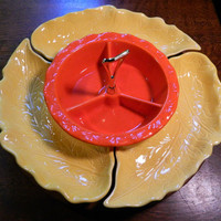Vintage Retro Bright Orange and Yellow California Art Pottery Lazy Susan with Divided Dishes - Marked Calif. USA 994 / 995