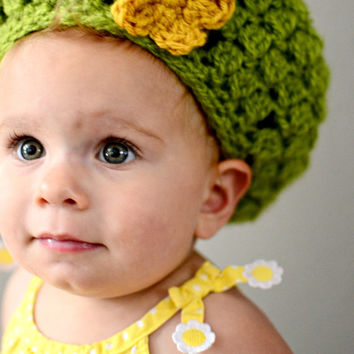 Baby Girl's Crochet Beret Size 12-18 Months - Baby Beret Hat - Crochet Fall Beret - Green Tam w/ Yellow Flower