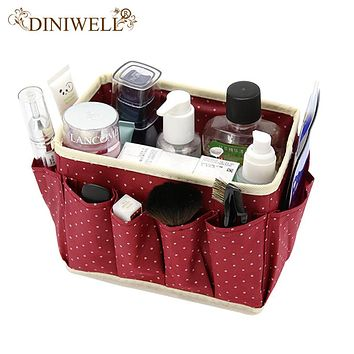 DINIWELL Dot Desk Organizer Folding Cosmetics Makeup Stationery Home Storage Box Organizer