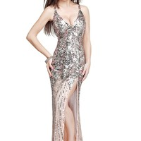 Primavera 9490 Champagne Evening Gown