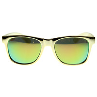 Hipster Platinum Gold Fashion Mirror Lens Horned Rim Sunglasses 8507