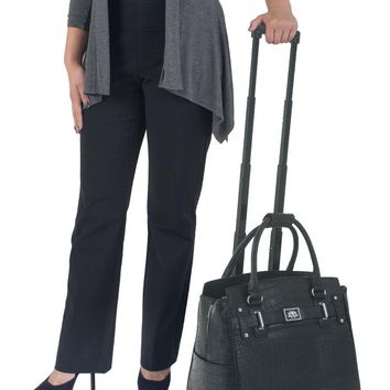 """TIMELESS"" Black Alligator Rolling iPad, Tablet or Laptop Tote Carryall Bag"