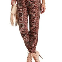 Baroque Print Jogger Pants by Charlotte Russe - Black/White