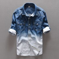 Spring jeans shirt men brand casual denim shirt men cotton long shirts mens Autumn gradient shirts male overhemd camisa chemise