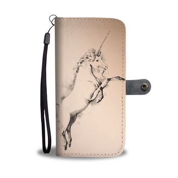 Sketch of Unicorn Print Wallet Case-Free Shipping