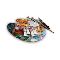 brushes, paints, easels