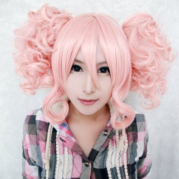 35cm Short Pink Cute Girls Lolita Wig Pigtails,Colorful Candy Colored synthetic Hair Extension Hair piece 1pcs WIG-301D