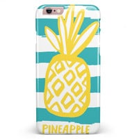 Striped Mint and Gold Pineapple iPhone 6/6s or 6/6s Plus INK-Fuzed Case