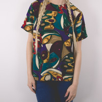 Vintage 80s Fall Autumn Abstract Blouse
