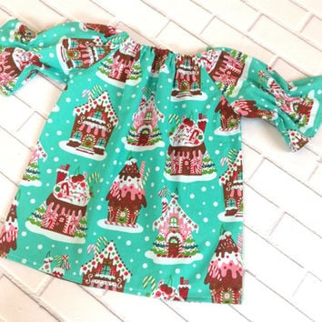 Girls Christmas Dress Toddler Holiday Dress Gingerbread Houses Aqua Red Boutique Clothing By Lucky Lizzy's