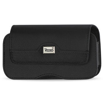 Horizontal Leather Pouch XXL Size Plus-Black With Belt Hoops