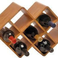 Bamboo 8-Bottle Wine Rack Liquor Alcohol Bottle Holder Storage Kitchen Wood Bar