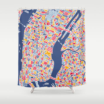 New York City Map Poster Shower Curtain by Vianina