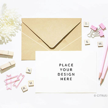 Styled Stock Photography - Card Invitation Mock Up - Hero Image  -  White Chrysanthemum and Pink Accents on a Clean White Desktop