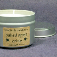 Baked Apple Crisp Soy Candle Tin - Hand Poured and Highly Scented Container Candles