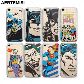 Aertemisi Phone Cases Joker Superman Wonder Woman Batgirl Supergirl Clear TPU Case Cover for iPhone 5 5s SE 6 6s 7 8 Plus X