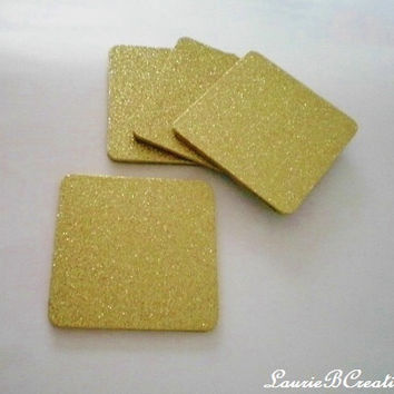 "GOLD GLITTER COASTERS - Large Square Drink Coasters in Sparkling Fine Gold Glitter - Set of four - 4"" x 4"""