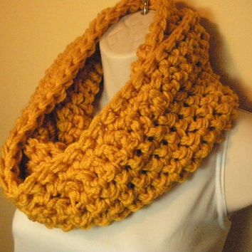 Yellow Gold Cowl Infinity Circle Scarf Neckwarmer
