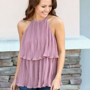 So Pleated Tank Top - Mauve
