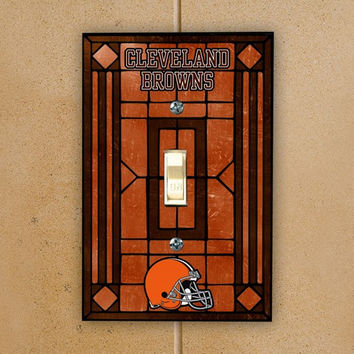 Cleveland Browns Orange Art-Glass Switch Plate Cover