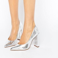 River Island Block Heeled Court Shoe at asos.com