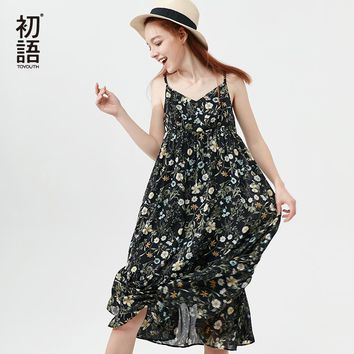 Toyouth Beach Dress Women 2018 Summer Boho Dress Casual Strap Bohemian Floral Dress Midi Long Chiffon Dresses