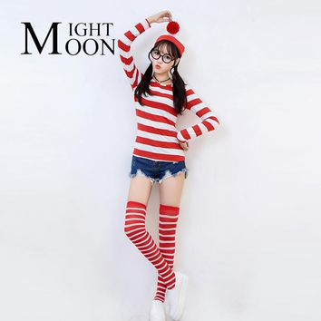 MOONIGHT Where's Wally Waldo TV Cartoon Stag Night Outfit Adult women Fancy Dress Halloween Costume