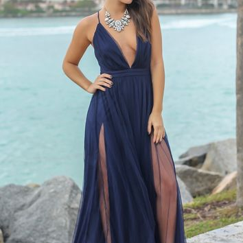 Navy Tulle Maxi Dress with Criss Cross Back